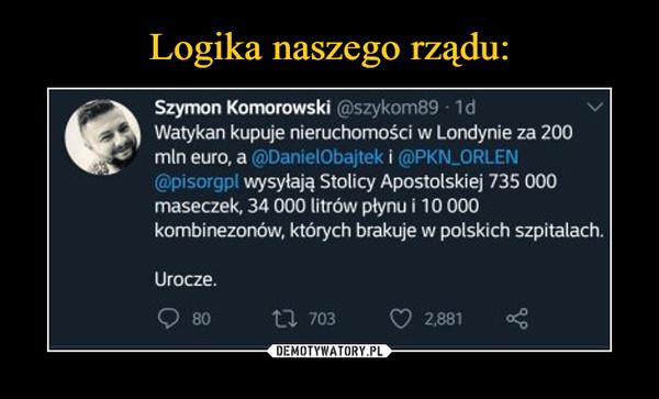 """–  #Szymon Komorowski @szykom89 • 1d Watykan kupuje nieruchomości w Londynie za 200 mln euro, a i0bajtek i @PKN_ORLi """" wysyłają Stolicy Apostolskiej 735 000 maseczek, 34 000 litrów plynu i 10 000 kombinezonów, których brakuje w polskich szpitalach. Urocze."""