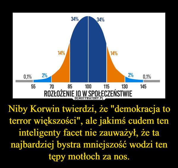 """Niby Korwin twierdzi, że """"demokracja to terror większości"""", ale jakimś cudem ten inteligenty facet nie zauważył, że ta najbardziej bystra mniejszość wodzi ten tępy motłoch za nos. –"""