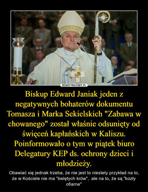"""Biskup Edward Janiak jeden z negatywnych bohaterów dokumentu Tomasza i Marka Sekielskich """"Zabawa w chowanego"""" został właśnie odsunięty od święceń kapłańskich w Kaliszu. Poinformowało o tym w piątek biuro Delegatury KEP ds. ochrony dzieci i młodzieży."""
