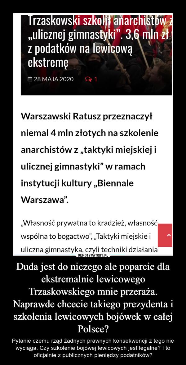 Duda jest do niczego ale poparcie dla ekstremalnie lewicowego Trzaskowskiego mnie przeraża. Naprawde chcecie takiego prezydenta i szkolenia lewicowych bojówek w całej Polsce? – Pytanie czemu rząd żadnych prawnych konsekwencji z tego nie wyciąga. Czy szkolenie bojówej lewicowych jest legalne? I to oficjalnie z publicznych pieniędzy podatników?