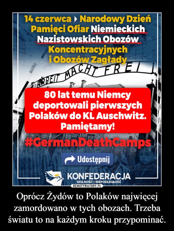 Oprócz Żydów to Polaków najwięcej zamordowano w tych obozach. Trzeba światu to na każdym kroku przypominać. –