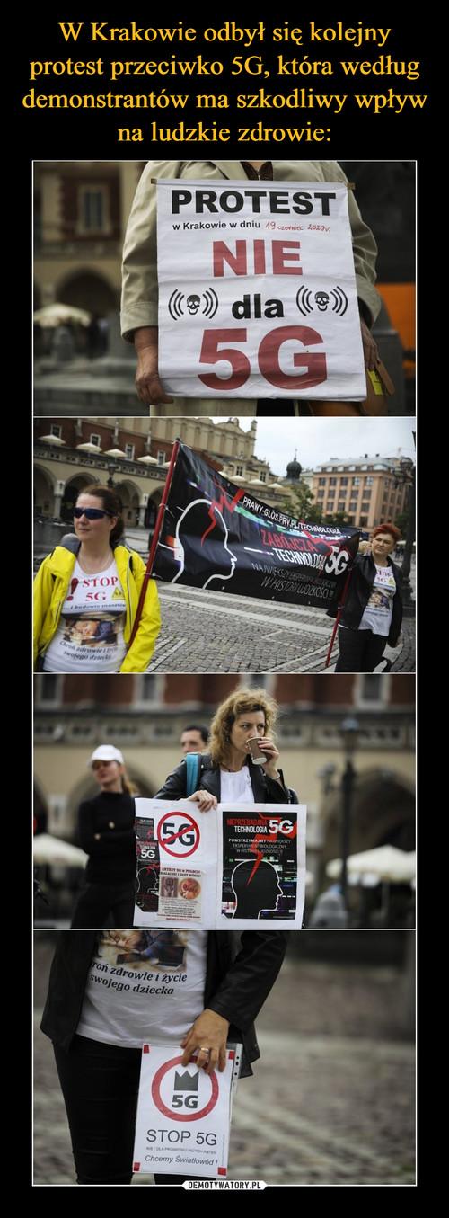 W Krakowie odbył się kolejny protest przeciwko 5G, która według demonstrantów ma szkodliwy wpływ na ludzkie zdrowie: