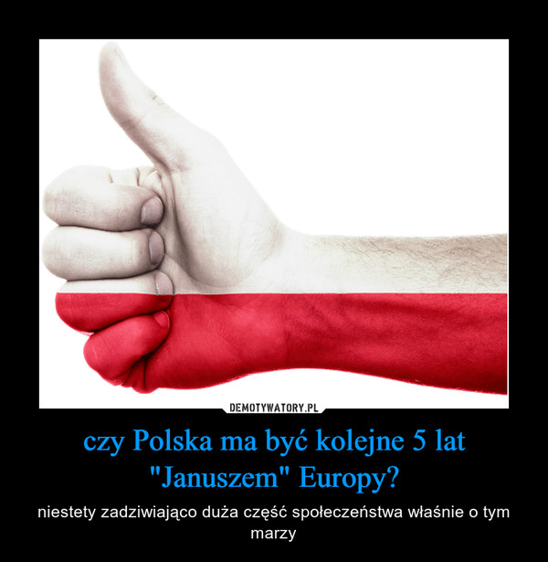 """czy Polska ma być kolejne 5 lat """"Januszem"""" Europy? – niestety zadziwiająco duża część społeczeństwa właśnie o tym marzy"""