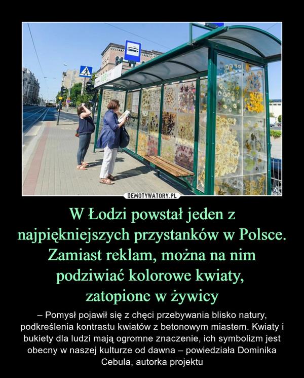 W Łodzi powstał jeden z najpiękniejszych przystanków w Polsce. Zamiast reklam, można na nim podziwiać kolorowe kwiaty, zatopione w żywicy – – Pomysł pojawił się z chęci przebywania blisko natury, podkreślenia kontrastu kwiatów z betonowym miastem. Kwiaty i bukiety dla ludzi mają ogromne znaczenie, ich symbolizm jest obecny w naszej kulturze od dawna – powiedziała Dominika Cebula, autorka projektu
