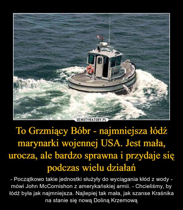 To Grzmiący Bóbr - najmniejsza łódź marynarki wojennej USA. Jest mała, urocza, ale bardzo sprawna i przydaje się podczas wielu działań – - Początkowo takie jednostki służyły do wyciągania kłód z wody - mówi John McCornishon z amerykańskiej armii. - Chcieliśmy, by łódź była jak najmniejsza. Najlepiej tak mała, jak szanse Kraśnika na stanie się nową Doliną Krzemową