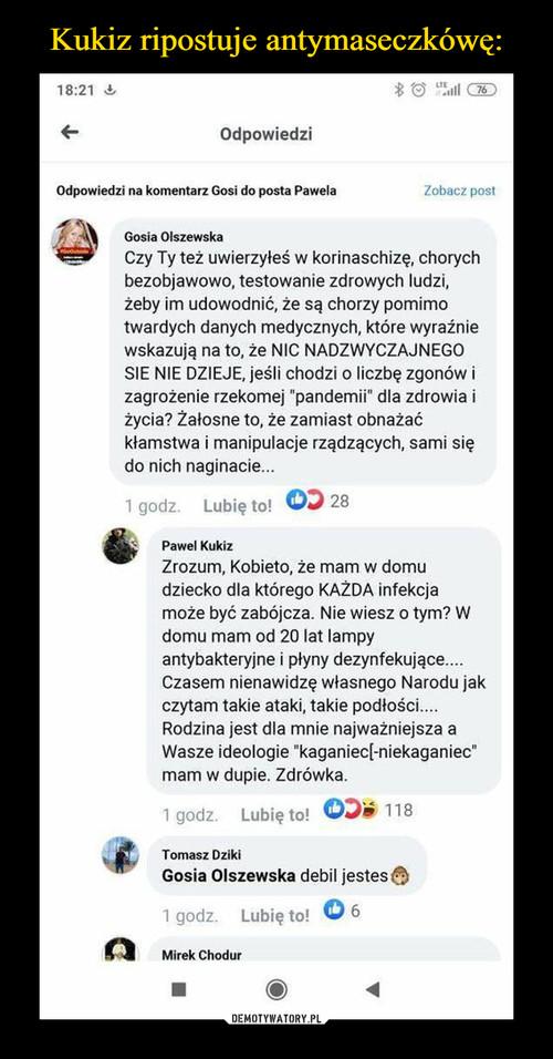 Kukiz ripostuje antymaseczkówę:
