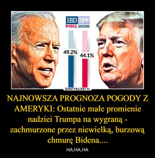 NAJNOWSZA PROGNOZA POGODY Z AMERYKI: Ostatnie małe promienie nadziei Trumpa na wygraną - zachmurzone przez niewielką, burzową chmurę Bidena....