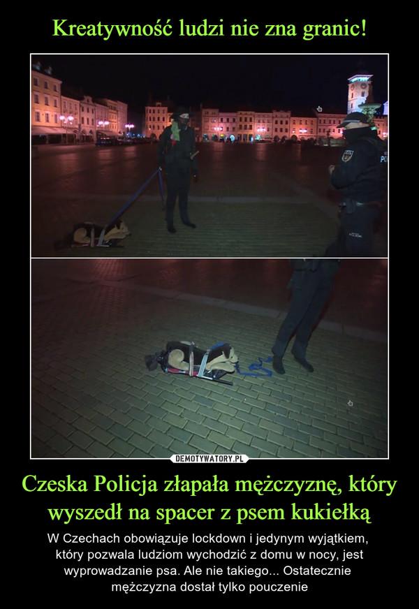 Czeska Policja złapała mężczyznę, który wyszedł na spacer z psem kukiełką – W Czechach obowiązuje lockdown i jedynym wyjątkiem, który pozwala ludziom wychodzić z domu w nocy, jest wyprowadzanie psa. Ale nie takiego... Ostatecznie mężczyzna dostał tylko pouczenie