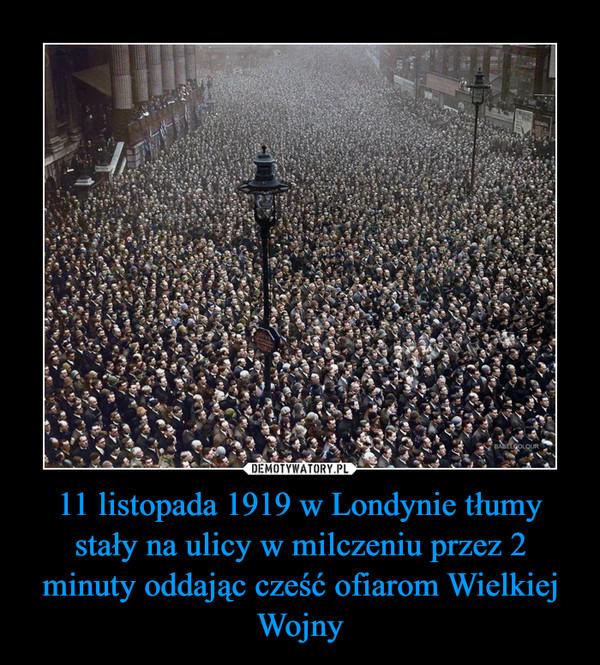 11 listopada 1919 w Londynie tłumy stały na ulicy w milczeniu przez 2 minuty oddając cześć ofiarom Wielkiej Wojny –