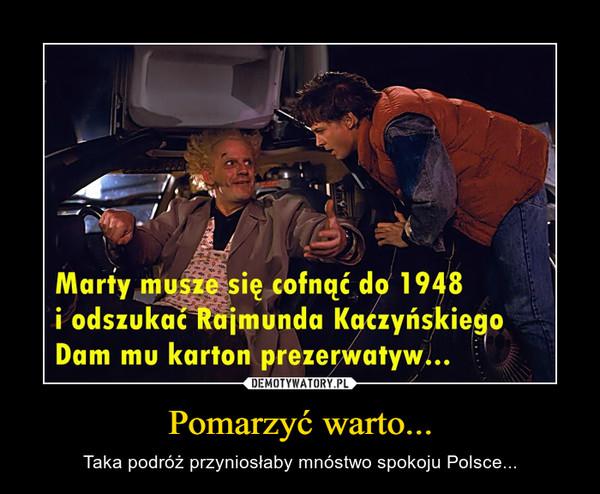 Pomarzyć warto... – Taka podróż przyniosłaby mnóstwo spokoju Polsce...