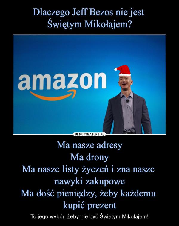Ma nasze adresyMa dronyMa nasze listy życzeń i zna nasze nawyki zakupoweMa dość pieniędzy, żeby każdemu kupić prezent – To jego wybór, żeby nie być Świętym Mikołajem!