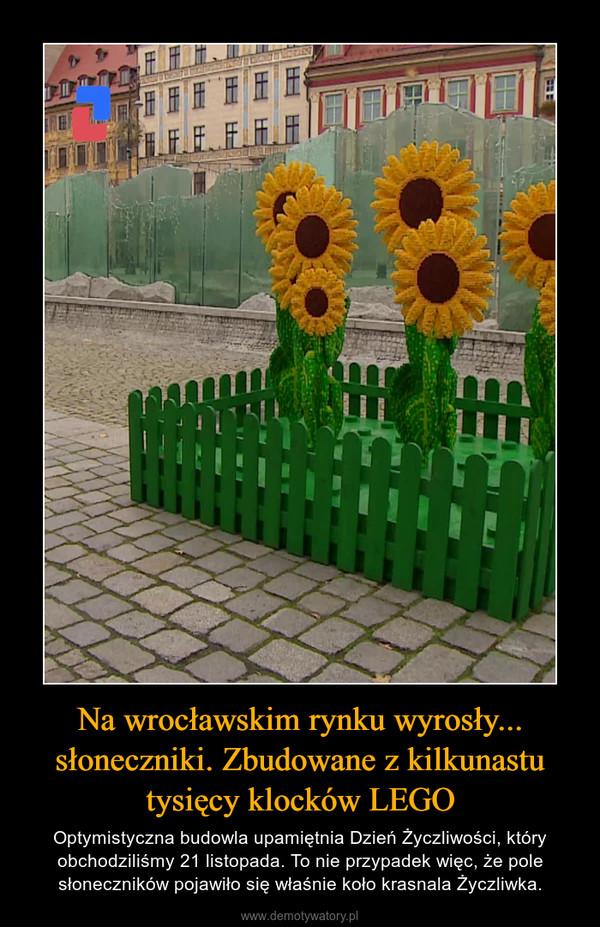 Na wrocławskim rynku wyrosły... słoneczniki. Zbudowane z kilkunastu tysięcy klocków LEGO – Optymistyczna budowla upamiętnia Dzień Życzliwości, który obchodziliśmy 21 listopada. To nie przypadek więc, że pole słoneczników pojawiło się właśnie koło krasnala Życzliwka.