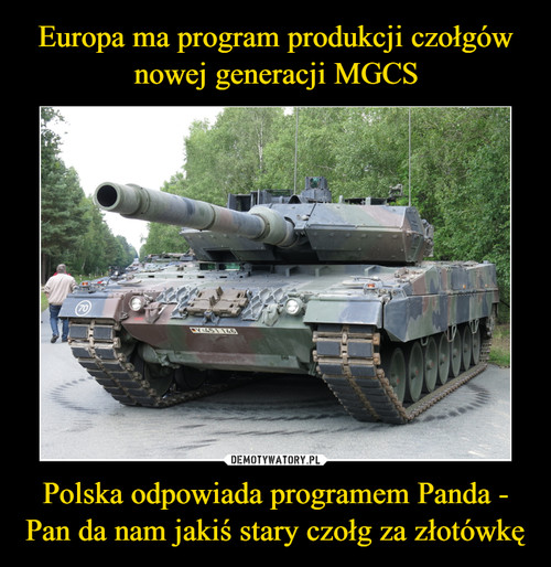 Europa ma program produkcji czołgów nowej generacji MGCS Polska odpowiada programem Panda - Pan da nam jakiś stary czołg za złotówkę