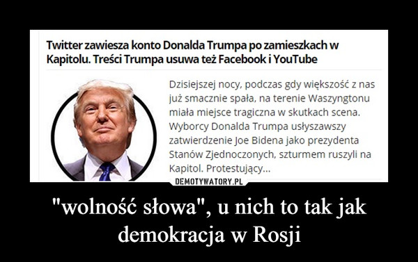 """""""wolność słowa"""", u nich to tak jak demokracja w Rosji –"""