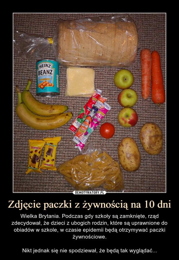 Zdjęcie paczki z żywnością na 10 dni – Wielka Brytania. Podczas gdy szkoły są zamknięte, rząd zdecydował, że dzieci z ubogich rodzin, które są uprawnione do obiadów w szkole, w czasie epidemii będą otrzymywać paczki żywnościowe.Nikt jednak się nie spodziewał, że będą tak wyglądać...