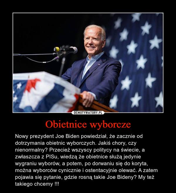 Obietnice wyborcze – Nowy prezydent Joe Biden powiedział, że zacznie od dotrzymania obietnic wyborczych. Jakiś chory, czy nienormalny? Przecież wszyscy politycy na świecie, a zwłaszcza z PISu, wiedzą że obietnice służą jedynie wygraniu wyborów, a potem, po dorwaniu się do koryta, można wyborców cynicznie i ostentacyjnie olewać. A zatem pojawia się pytanie, gdzie rosną takie Joe Bideny? My też takiego chcemy !!!