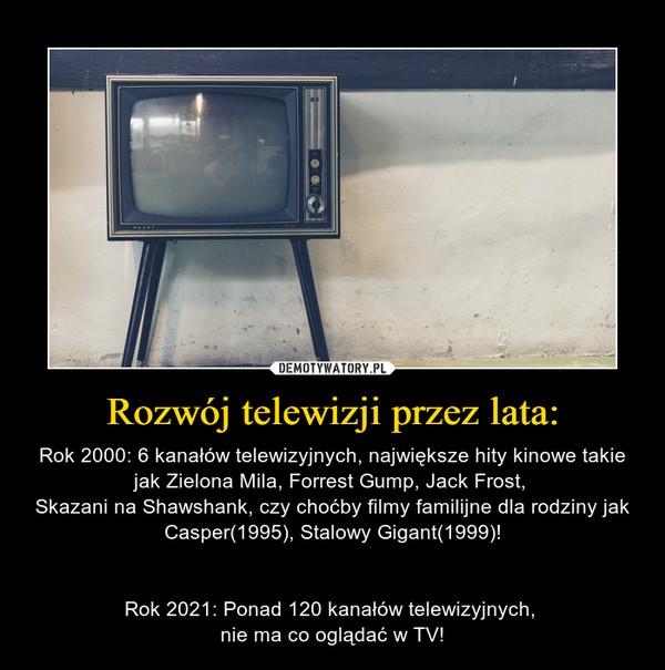 Rozwój telewizji przez lata: – Rok 2000: 6 kanałów telewizyjnych, największe hity kinowe takie jak Zielona Mila, Forrest Gump, Jack Frost, Skazani na Shawshank, czy choćby filmy familijne dla rodziny jak Casper(1995), Stalowy Gigant(1999)!Rok 2021: Ponad 120 kanałów telewizyjnych, nie ma co oglądać w TV!
