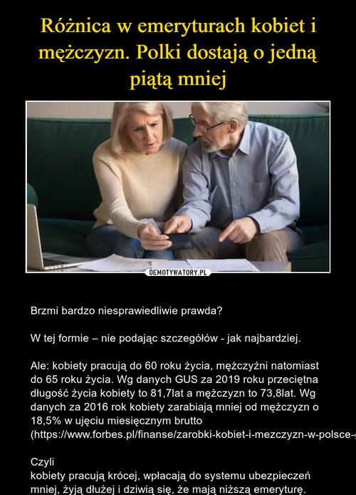 Różnica w emeryturach kobiet i mężczyzn. Polki dostają o jedną piątą mniej