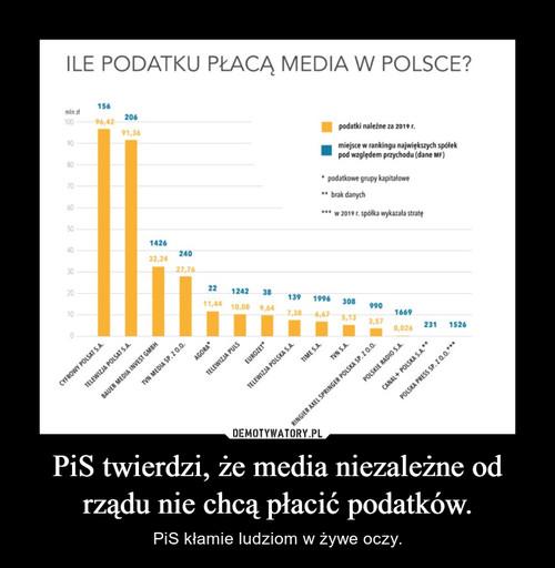 PiS twierdzi, że media niezależne od rządu nie chcą płacić podatków.