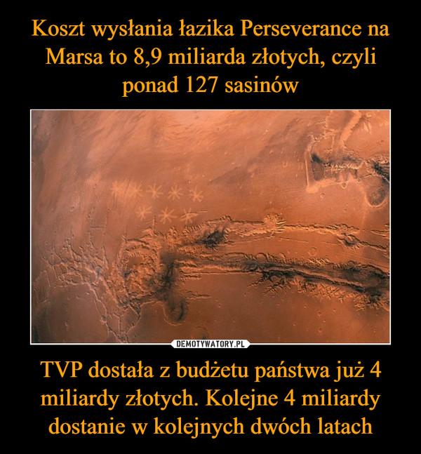 TVP dostała z budżetu państwa już 4 miliardy złotych. Kolejne 4 miliardy dostanie w kolejnych dwóch latach –