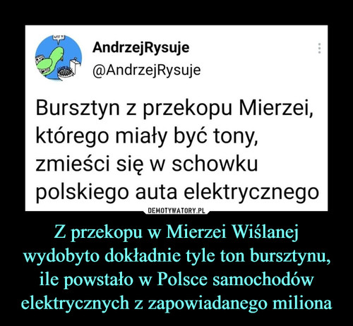 Z przekopu w Mierzei Wiślanej wydobyto dokładnie tyle ton bursztynu, ile powstało w Polsce samochodów elektrycznych z zapowiadanego miliona