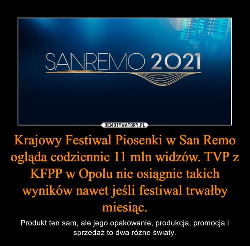 Krajowy Festiwal Piosenki w San Remo ogląda codziennie 11 mln widzów. TVP z KFPP w Opolu nie osiągnie takich wyników nawet jeśli festiwal trwałby miesiąc.