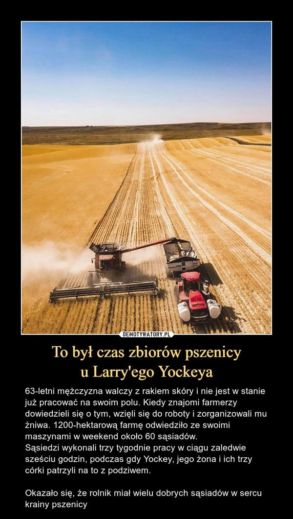 To był czas zbiorów pszenicyu Larry'ego Yockeya – 63-letni mężczyzna walczy z rakiem skóry i nie jest w stanie już pracować na swoim polu. Kiedy znajomi farmerzy dowiedzieli się o tym, wzięli się do roboty i zorganizowali mu żniwa. 1200-hektarową farmę odwiedziło ze swoimi maszynami w weekend około 60 sąsiadów. Sąsiedzi wykonali trzy tygodnie pracy w ciągu zaledwie sześciu godzin, podczas gdy Yockey, jego żona i ich trzy córki patrzyli na to z podziwem.Okazało się, że rolnik miał wielu dobrych sąsiadów w sercu krainy pszenicy
