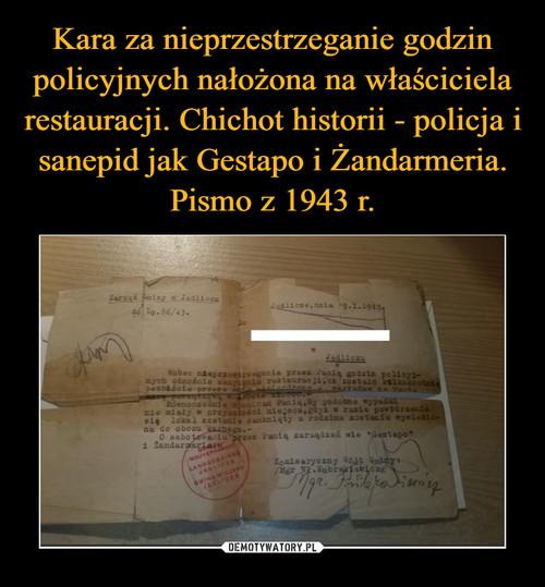 Kara za nieprzestrzeganie godzin policyjnych nałożona na właściciela restauracji. Chichot historii - policja i sanepid jak Gestapo i Żandarmeria. Pismo z 1943 r.