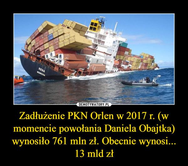 Zadłużenie PKN Orlen w 2017 r. (w momencie powołania Daniela Obajtka) wynosiło 761 mln zł. Obecnie wynosi... 13 mld zł –