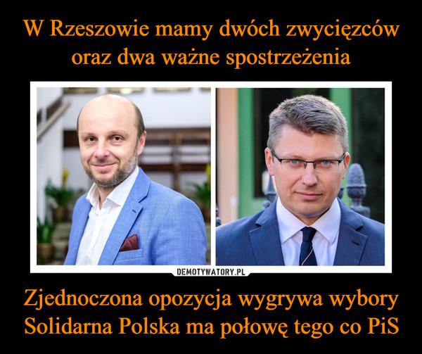 Zjednoczona opozycja wygrywa wyborySolidarna Polska ma połowę tego co PiS –