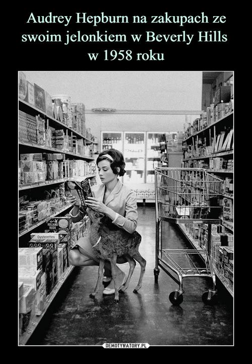 Audrey Hepburn na zakupach ze swoim jelonkiem w Beverly Hills  w 1958 roku