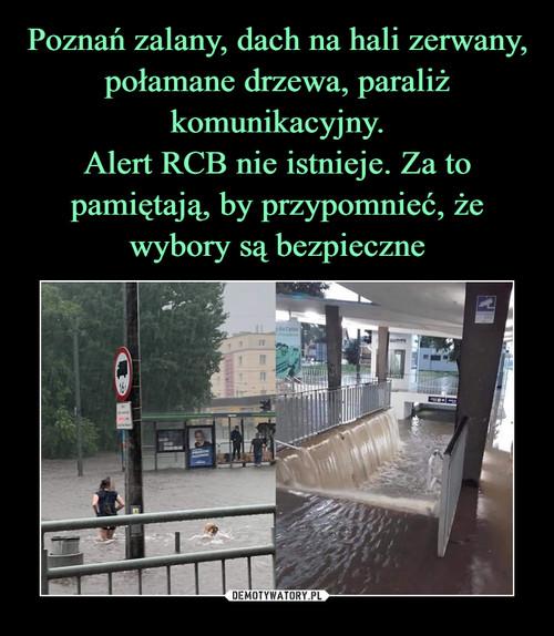 Poznań zalany, dach na hali zerwany, połamane drzewa, paraliż komunikacyjny. Alert RCB nie istnieje. Za to pamiętają, by przypomnieć, że wybory są bezpieczne