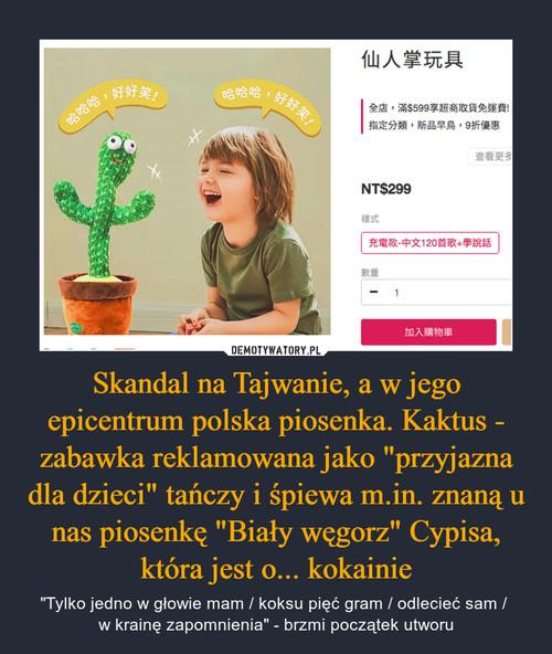 """Skandal na Tajwanie, a w jego epicentrum polska piosenka. Kaktus - zabawka reklamowana jako """"przyjazna dla dzieci"""" tańczy i śpiewa m.in. znaną u nas piosenkę """"Biały węgorz"""" Cypisa, która jest o... kokainie"""