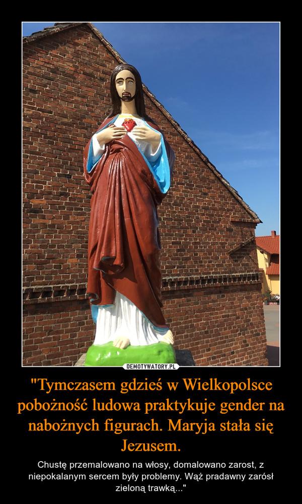 """""""Tymczasem gdzieś w Wielkopolsce pobożność ludowa praktykuje gender na nabożnych figurach. Maryja stała się Jezusem. – Chustę przemalowano na włosy, domalowano zarost, z niepokalanym sercem były problemy. Wąż pradawny zarósł zieloną trawką..."""""""