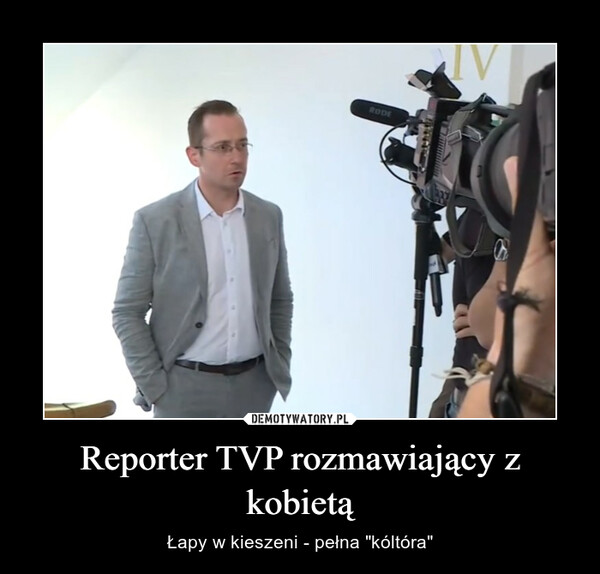 Reporter TVP rozmawiający z kobietą