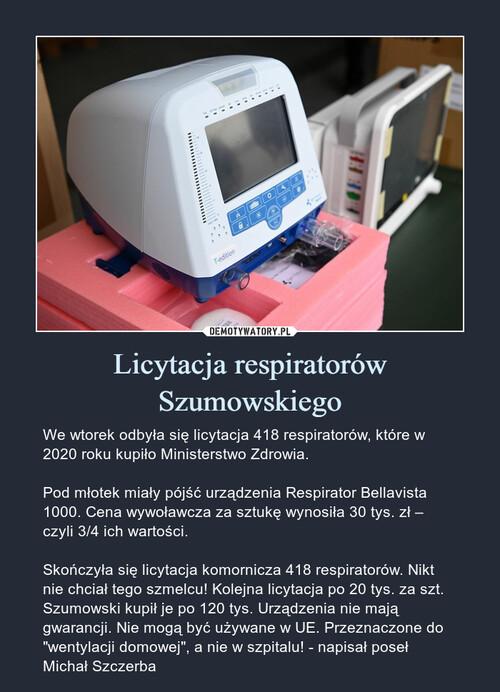 Licytacja respiratorów Szumowskiego