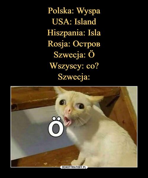 Polska: Wyspa USA: Island Hiszpania: Isla Rosja: Остров Szwecja: Ö Wszyscy: co? Szwecja: