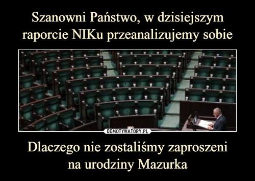 Szanowni Państwo, w dzisiejszym raporcie NIKu przeanalizujemy sobie Dlaczego nie zostaliśmy zaproszeni na urodziny Mazurka