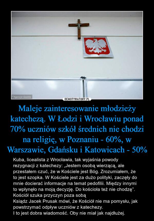 """Maleje zainteresowanie młodzieży katechezą. W Łodzi i Wrocławiu ponad 70% uczniów szkół średnich nie chodzi na religię, w Poznaniu - 60%, w Warszawie, Gdańsku i Katowicach - 50% – Kuba, licealista z Wrocławia, tak wyjaśnia powody rezygnacji z katechezy: """"Jestem osobą wierzącą, ale przestałem czuć, że w Kościele jest Bóg. Zrozumiałem, że to jest szopka. W Kościele jest za dużo polityki, zaczęły do mnie docierać informacje na temat pedofilii. Między innymi to wpłynęło na moją decyzję. Do kościoła też nie chodzę"""". Kościół szuka przyczyn poza sobą Ksiądz Jacek Prusak mówi, że Kościół nie ma pomysłu, jak powstrzymać odpływ uczniów z katechezy. I to jest dobra wiadomość. Oby nie miał jak najdłużej."""